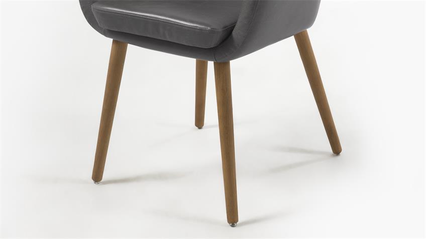 Stuhl NORA Armlehnstuhl in Vintage Sessel Lederlook grau Eiche