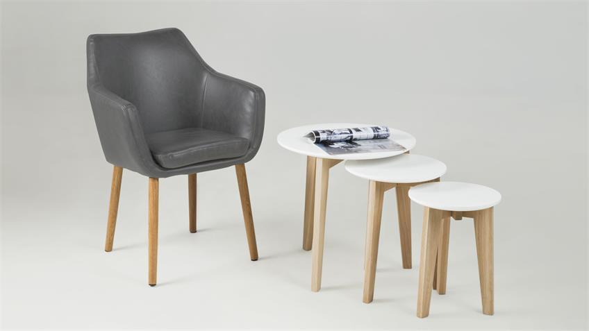 Stuhl nora armlehnstuhl in vintage sessel lederlook grau eiche for Design stuhl nora
