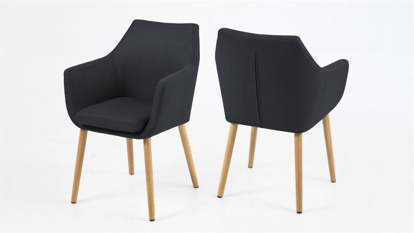 stuhl nora armlehnstuhl sessel in vintage stoff anthrazit eiche. Black Bedroom Furniture Sets. Home Design Ideas