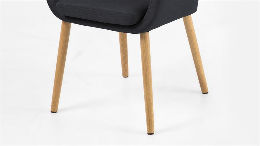 Stuhl NORA Armlehnstuhl Sessel in Vintage Stoff anthrazit Eiche