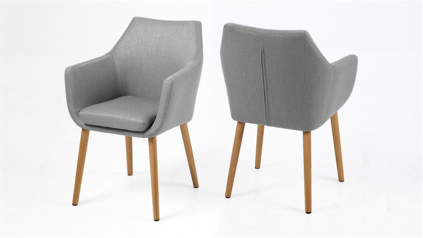 stuhl nora armlehnstuhl sessel in vintage stoff hell grau eiche. Black Bedroom Furniture Sets. Home Design Ideas