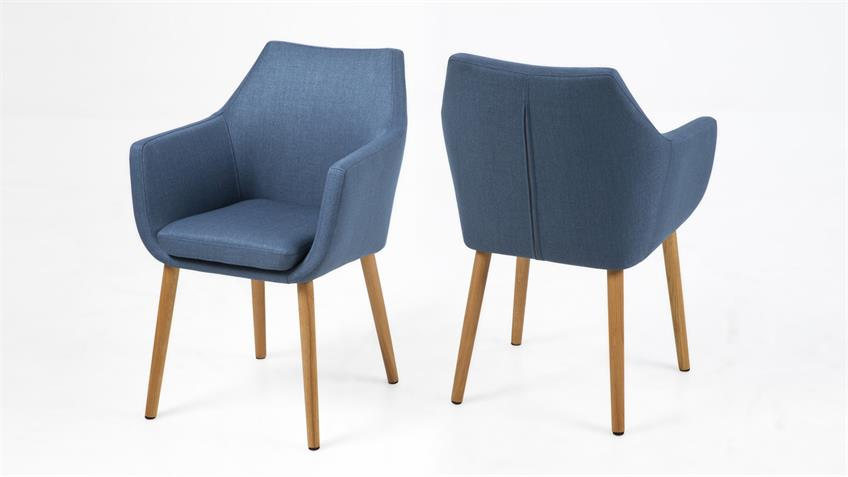 Stuhl NORA Armlehnstuhl Sessel in Vintage Stoff dunkelblau Eiche