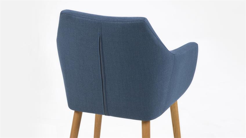 Stuhl nora armlehnstuhl sessel in vintage stoff dunkelblau for Design stuhl bequem