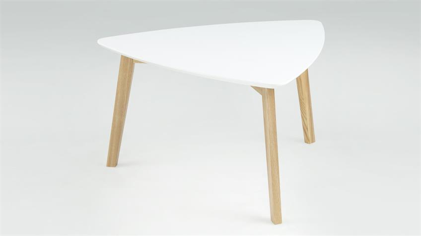 Couchtisch VITUS Tischplatte weiß lackiert Esche teilmassiv