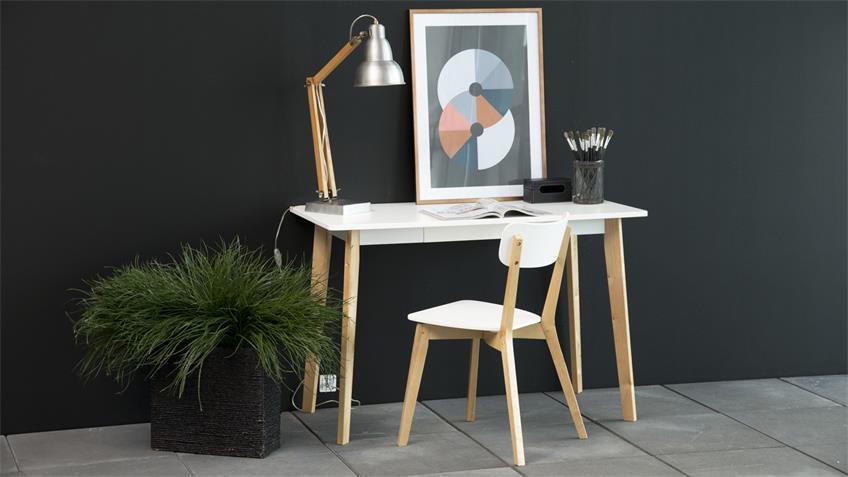 Schreibtisch RAVEN 117x58cm Gestell Birke Platte weiß lackiert