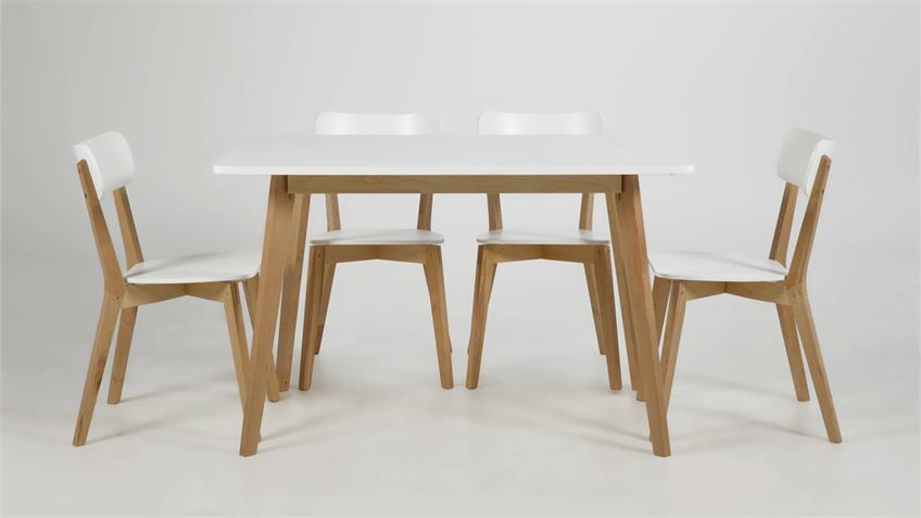 Esszimmer Set RAVEN Tisch und 4 Stühle weiß lackiert Birke
