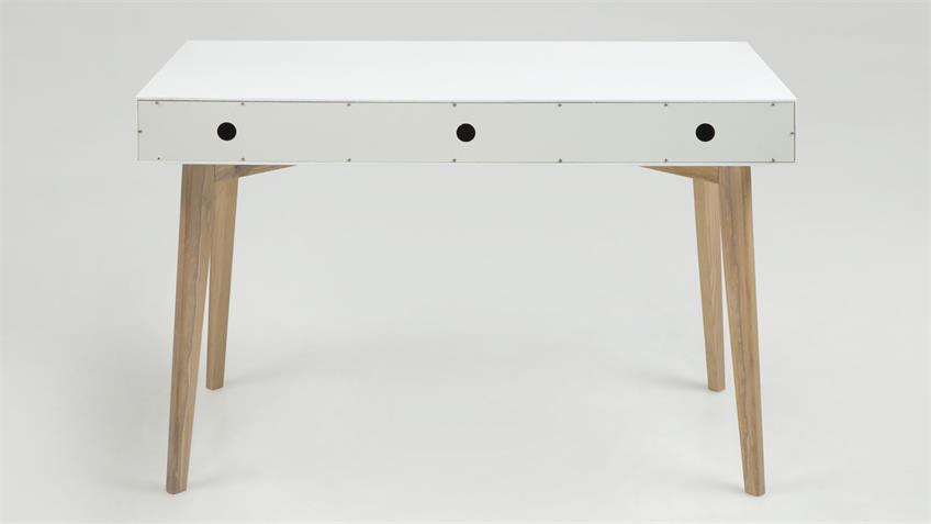 Schreibtisch TESS 120x60 cm weiß lackiert 3 SK teilmassiv
