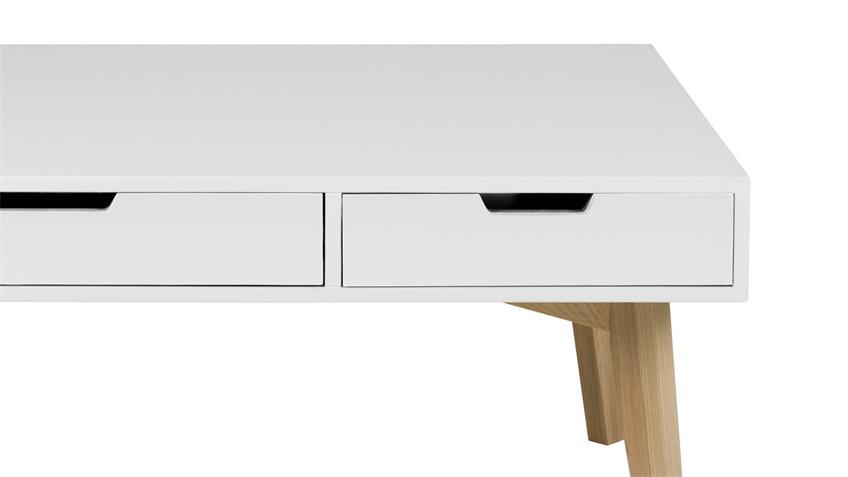 Couchtisch TESS 120x60 cm weiß lackiert 3 SK teilmassiv