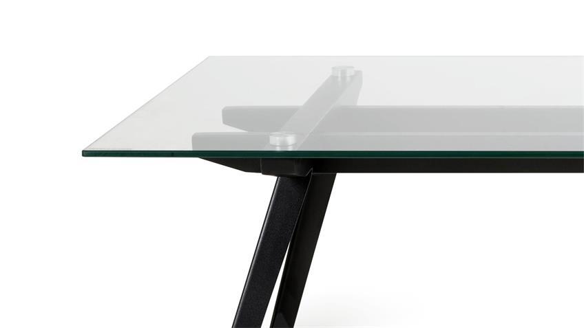 Couchtisch MONTI Tisch Glas Gestell Metall schwarz 120x60cm