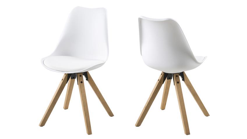 Stuhl DIMA 2er Set Kunststoff gepolstert weiß Beine Eiche