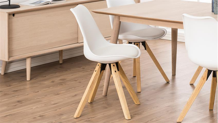 Stuhl DIMA 2er-Set Bezug weiß Gestell Eiche Massivholz gebeizt geölt