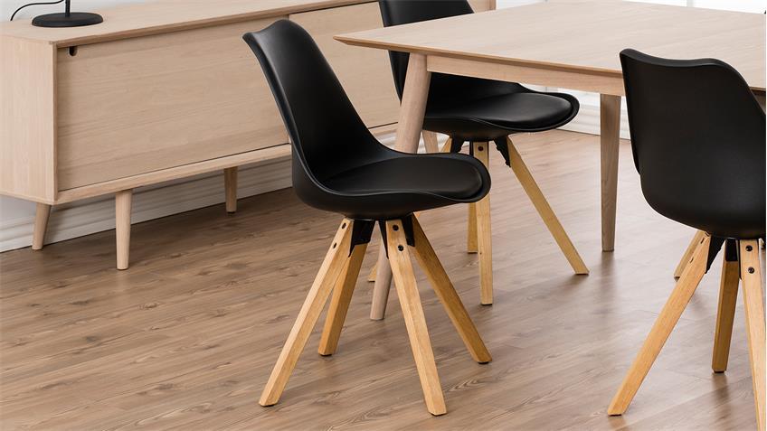 Stuhl DIMA 2er-Set Bezug in schwarz Gestell Eiche massiv gebeizt geölt