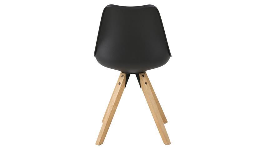 Stuhl DIMA 2er Set Kunststoff gepolstert schwarz Beine Eiche