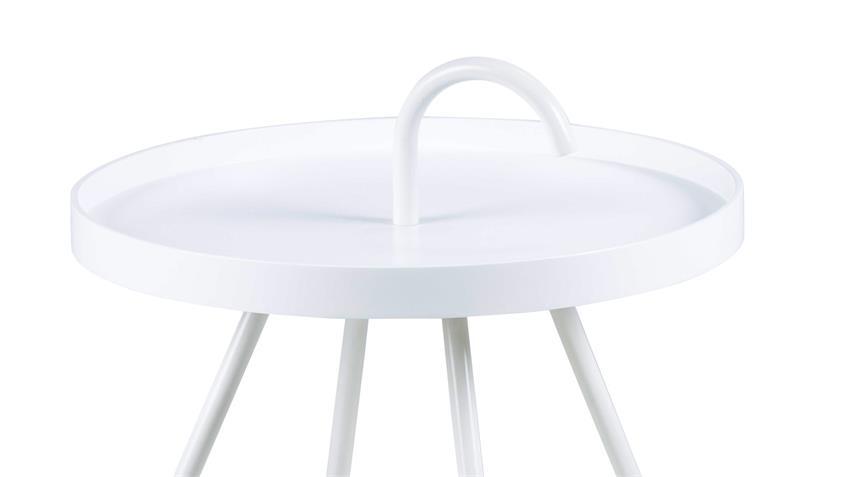 Beistelltisch MICO Couchtisch Holz rund weiß lackiert Ø 51cm