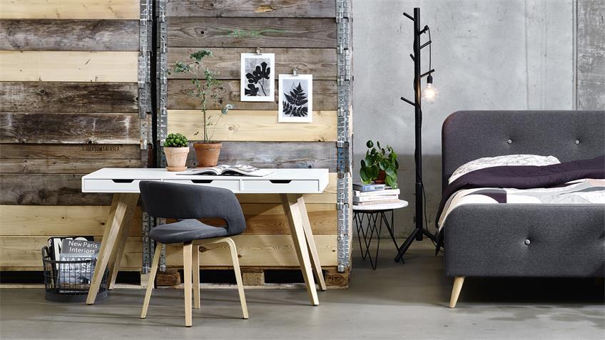 Schreibtisch ESTELLE matt weiß lackiert 3 Schubkästen 140x60
