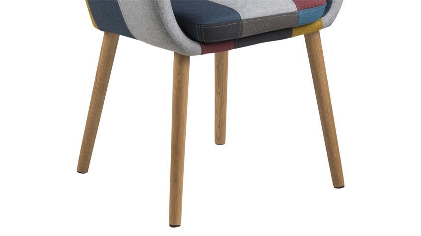 Stuhl NORA Armlehnstuhl Sessel in Stoff Patchwork bunt Eiche