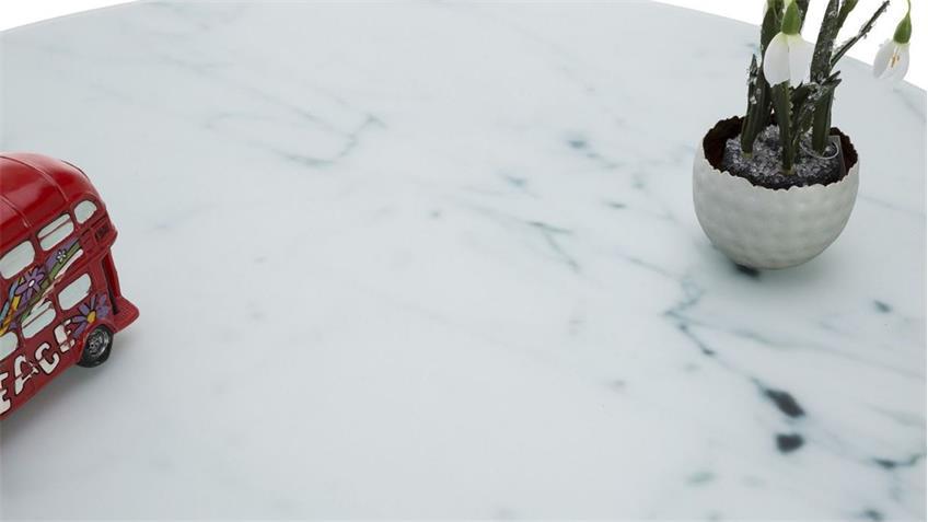 Couchtisch ALISMA in Glas weiß Marmoroptik und Chromgestell
