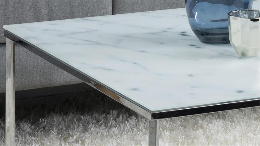 Couchtisch ALISMA eckig 80x80 cm Glas weiß mit Marmoroptik Chrom
