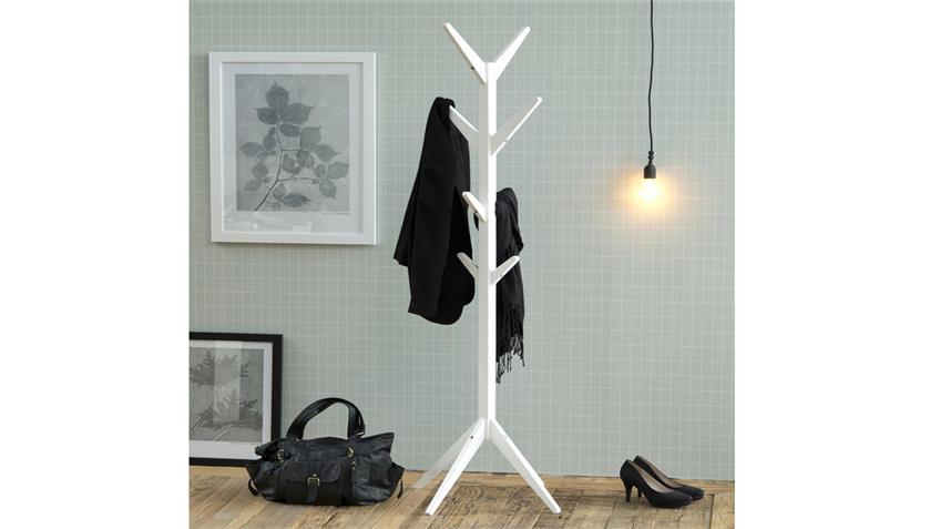 Garderobenständer ASCOT Kleiderständer aus Holz weiß lackiert