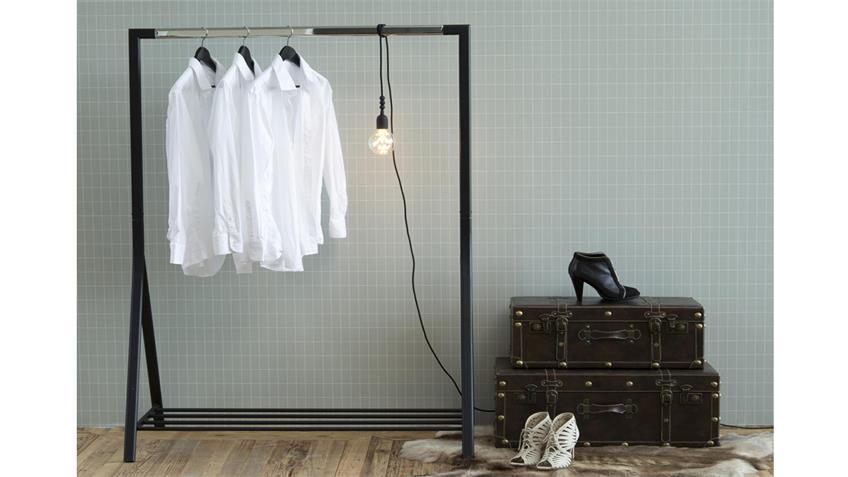Garderobenständer BRENT Kleiderständer Metall schwarz und Chrom
