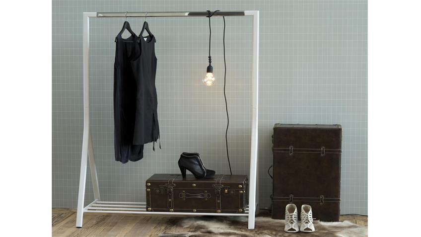 Garderobenständer BRENT Kleiderständer Metall weiß und Chrom