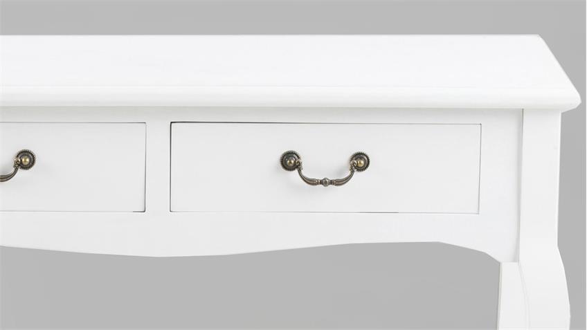 Konsolentisch CARIKKO in Holz weiß lackiert Metallgriffe in Antiklook