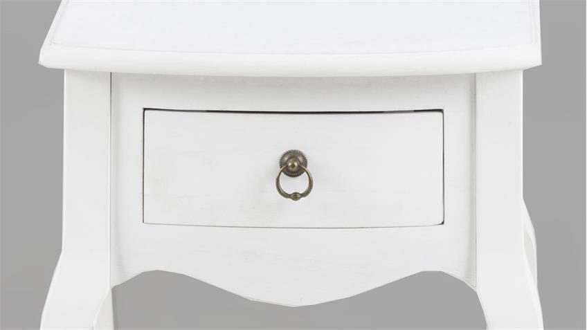 Nachttisch CARIKKO in Holz weiß lackiert Metallbeschlag in Antiklook