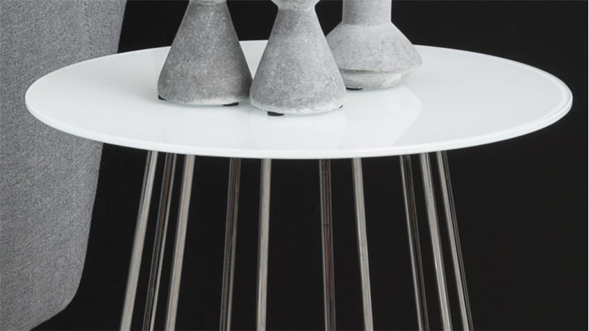 Beistelltisch CASIA Glas kristallklar weiß und Metall Chrom