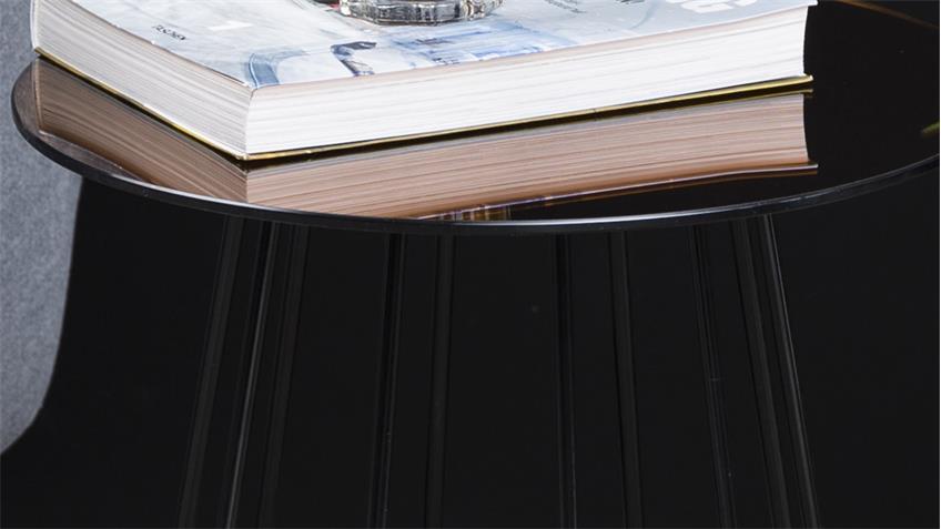 Beistelltisch CASIA Glas goldfarbig und Metall schwarz lackiert