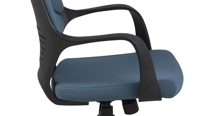 Bürostuhl DUBNIUM Drehstuhl Stoff petrol und Gestell Nylon schwarz