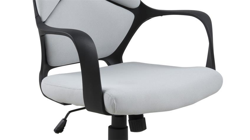 Bürostuhl DUBNIUM Drehstuhl Stoff hellgrau und Gestell Nylon schwarz