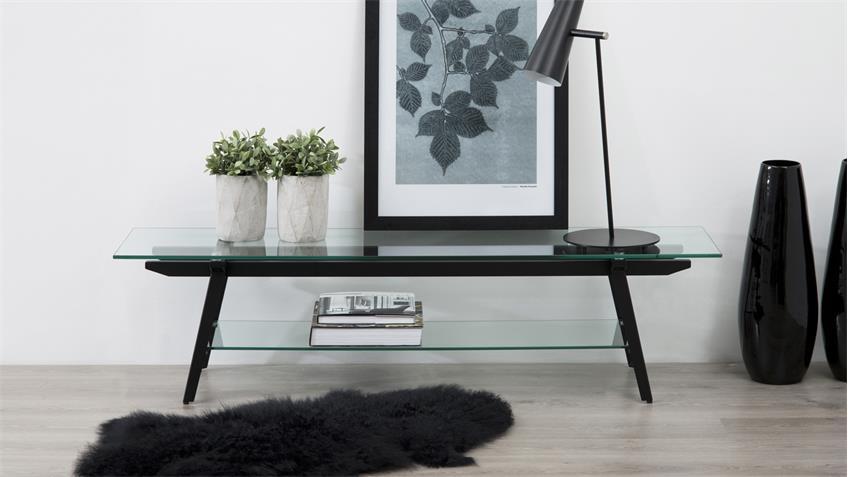 TV-Tisch MONTI Glasplatte und Metallgestell schwarz
