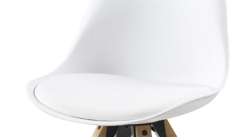 Essgruppe mit Esstisch NAGANO Eiche massiv und 4x Stuhl DIMA weiß