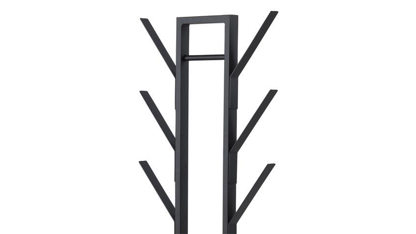 Kleiderständer VINSON in Metall Lack schwarz mit Schirmständer