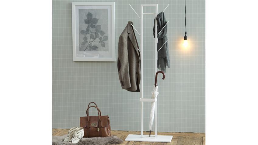 Kleiderständer VINSON in Metall Lack weiß mit Schirmständer