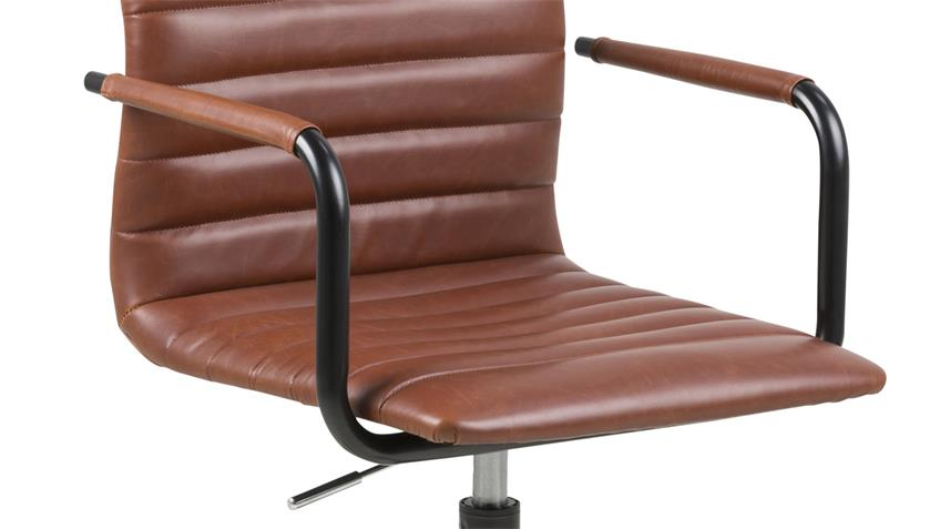 Bürostuhl WINSLOW Drehstuhl Lederlook Vintage cognac Metall schwarz