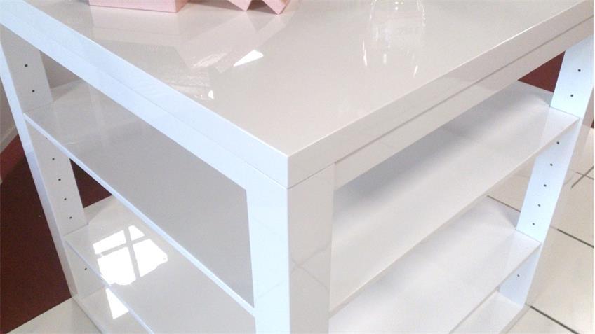 Bartisch Tisch Spizy Hochglanz weiß Warenträger 100x100