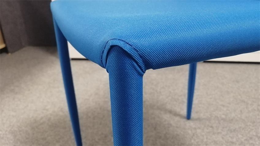 Stuhl Piana Küchenstuhl Esszimmerstuhl 4-er Set Stoff blau