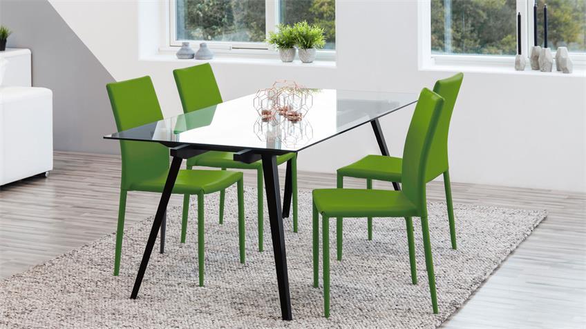 Stapelstuhl Piana 4er Set Esszimmerstuhl Küchenstuhl grün