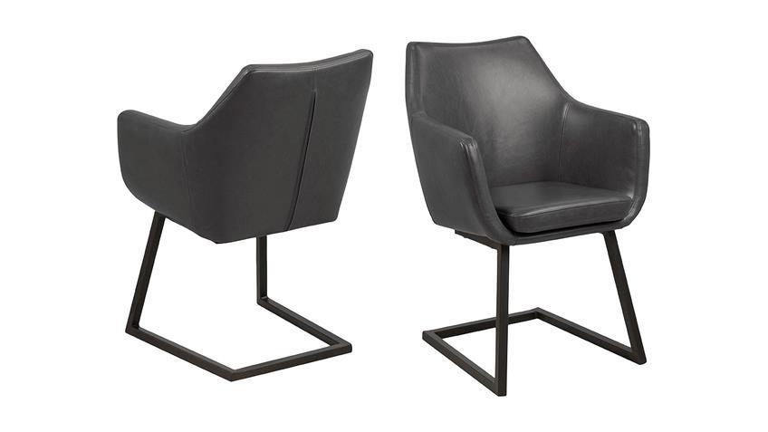 schwingstuhl nora stuhl esszimmerstuhl sessel vintage grau und metall. Black Bedroom Furniture Sets. Home Design Ideas