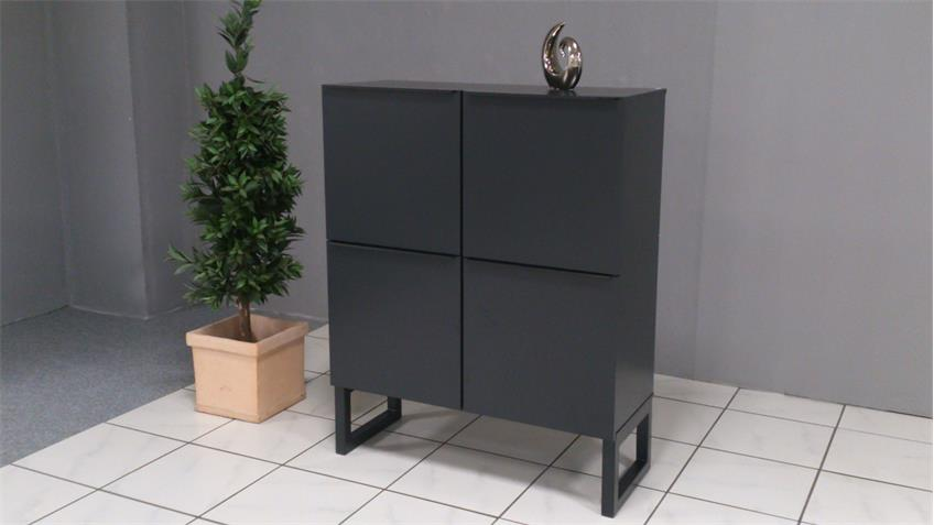 Highboard OBVIOUS Schrank 4-türig schwarz graphit Metallgestell