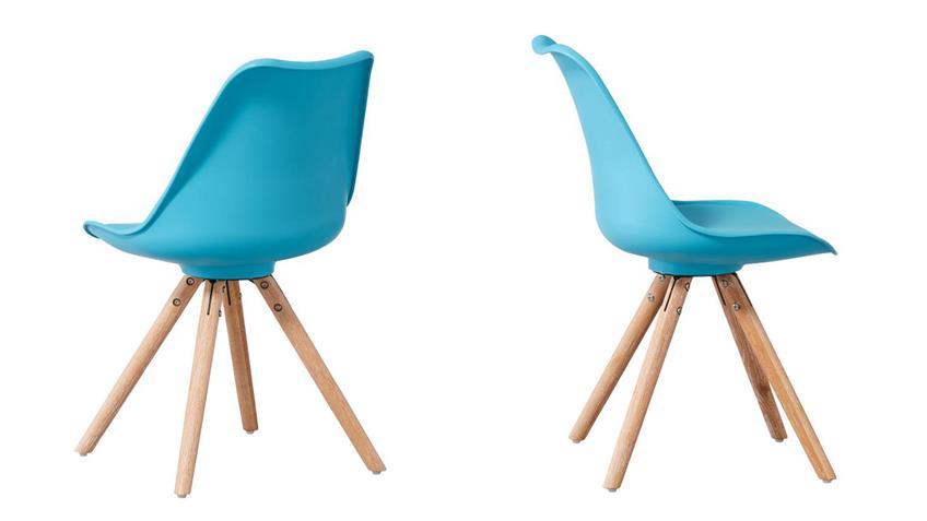 Stuhl clara schalenstuhl 2er set t rkis skandinavisch retro look - Stuhl skandinavisch ...