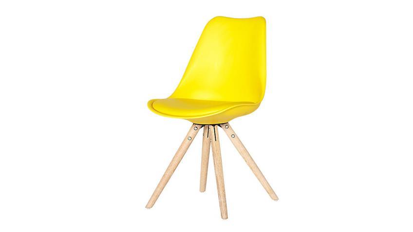 Schalenstuhl Clara 2er Set gelb skandinavisch Retro Look