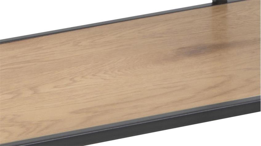 Regal SEAFORD schwarz matt Wildeiche Dekor 6 Ablagen