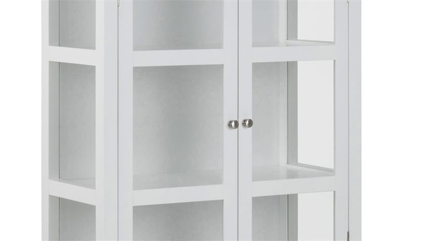 Vitrine ETON 5 Fächer 210 cm weiß lackiert Landhausstil