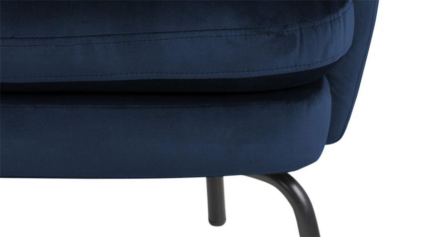 Loungestuhl CHISA marineblau Samtstoff Metall schwarz