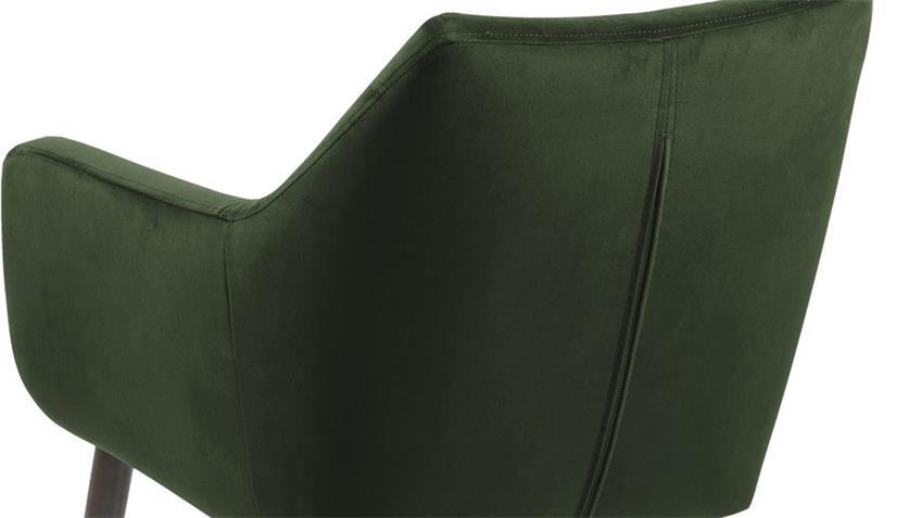 Esszimmerstuhl NORA Samt waldgrün Eiche dunkelbraun