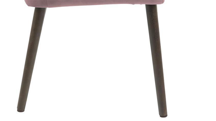Esszimmerstuhl NORA Samt rosa Eiche dunkelbraun