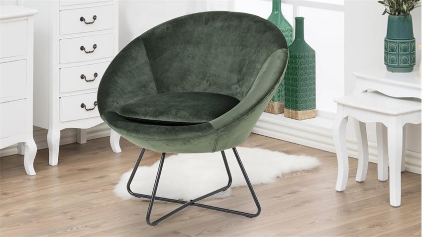 Loungestuhl CENTER Samt waldgrün Metall mattschwarz