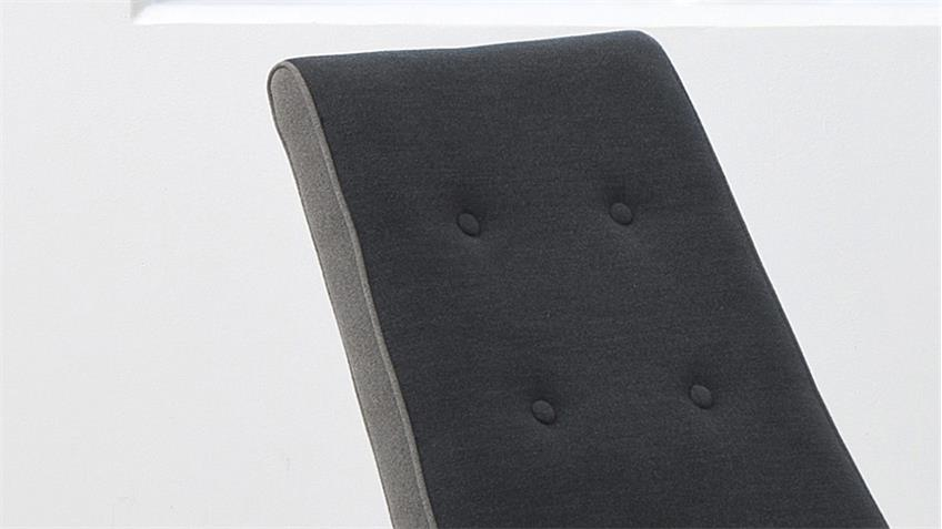 Schaukelstuhl ABBEY 2er-Set dunkelgrau gepolstert Chromgestell